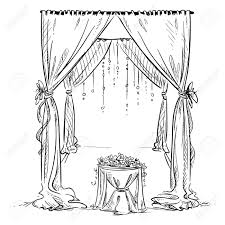 wedding arch wedding altar decoration vector sketch design