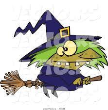 vector of a warted cartoon witch riding her broomstick on