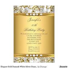 Gold Invitation Card Elegant 50th Birthday Party Red Black Gold Damask Invitation