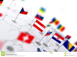 Flag Im österreich Flagge Im Fokus Europa Karte Mit Landflaggen Stock