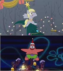 spongebob and my little pony christmas comparison by brandonale