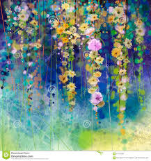 abstract floral watercolor painting spring flower seasonal nature