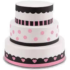 cake tier polka dots and hearts three tier cake wilton