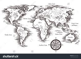 World Map With Continents And Oceans by Sketch World Map Template Black White Stock Vector 501313420