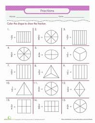 color the fraction fractions worksheets fractions and worksheets