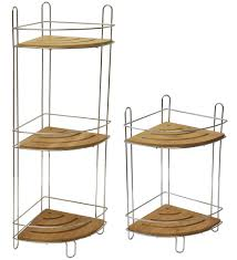 free standing corner shower caddy bamboo 2 shelves