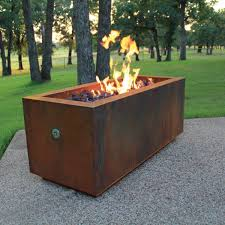 Rectangle Fire Pit Table Ten Steel Fire Pit Rectangular With Optional Lid
