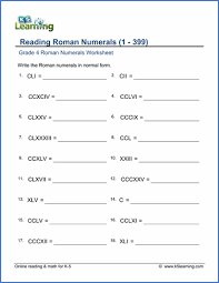 grade 4 roman numerals worksheets free u0026 printable k5 learning