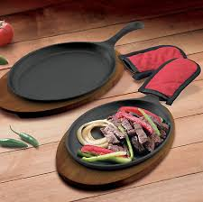 sizzle platter cast iron fajita pan serving dishes plate skillet hot sizzle