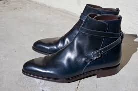 cool motorcycle shoes sold unicorn carmina shoemaker navy shell cordovan jodhpur