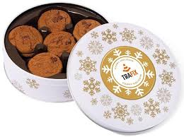 christmas belgian chocolate chip cookies in a white share tin