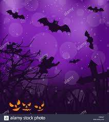 halloween design background halloween ominous background with pumpkins bats ghost stock