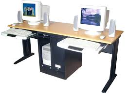 Computer Desks For Dual Monitors Dual Computer Desk Wooden Computer Desk Multiple Computer Desktop