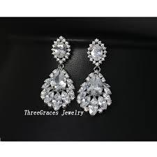Huge Chandelier Earrings Aliexpress Com Buy Threegraces Vintage Bridal Earring Big