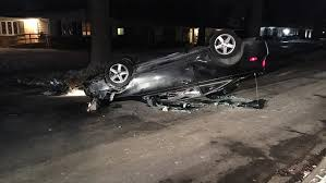 car flips onto its hood on hollywood ave in college hill wkrc