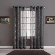warm home designs sheer charcoal curtain panels with silver