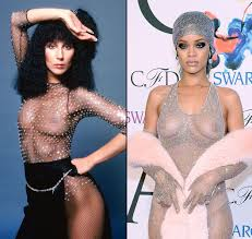 topless pictures of rihanna cher u0027s naked dresses inspired these celebs
