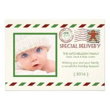 baby first christmas special delivery card custom photo hol