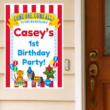 big top circus 1st birthday personalized door greeter