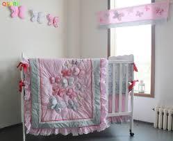 Muslin Crib Bedding Muslin Pink Butterfly Pattern Baby Bedding Cotton Crib