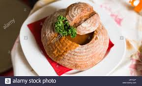 cuisine prague soup in bread a dish of cuisine in the restaurant of