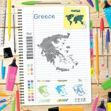 Greece Maps by Greece Maps Hand Drawn On Notebook Wooden Background Stock Vector