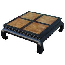 Henredon Dining Room Furniture Two Tone Burl Wood Ming Style Square Coffee Table By Henredon