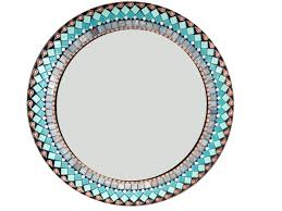 round wall mirror in turquoise teal gray and copper