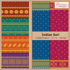 Scrapbook Paper Packs Digital Scrapbook Paper Pack Indian Sari Patterns Instant