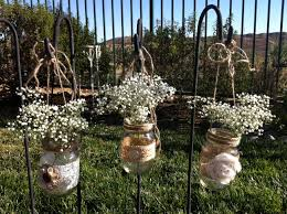 burlap lace hanging mason jars candle holders for wedding and