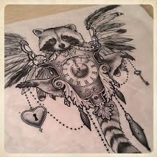 black and grey raccoon with clock and wings tattoo design by sake