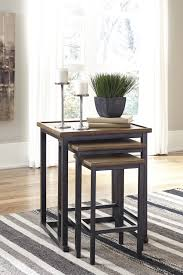 ashley t766 16 traxmore two tone finish 3 piece nesting end tables set