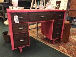 mid century modern desk refinished with general finishes coral