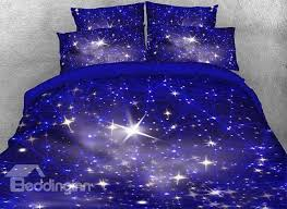 Electric Blue Duvet Cover Onlwe 3d Spiral Galaxy Universe Printed Cotton 4 Piece Blue