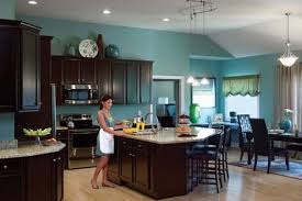 blue kitchen walls with brown cabinets kitchen cabinets add drama and sophistication to this