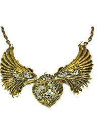 gold wings necklace images Antique gold tone angel wings heart necklace wild lotus jpg