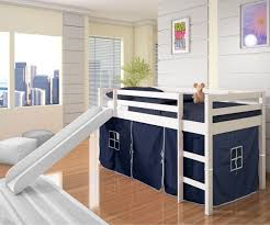 Kids White Bedroom Furniture Low Loft Bed With Blue Tent U0026 Slide White Bedroom Furniture Beds