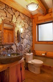 Cool Cabin Bathroom Natural Stone Wall For The Cabin Style Rustic Bathroom