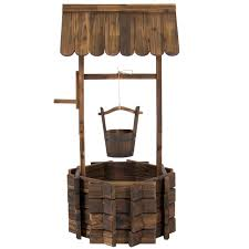 wooden wishing well flower planter patio garden outdoor