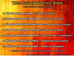 quote friendship spanish poster u0026 quote gandhi u0027s 7 social sins english and spanish
