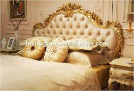 Crown Bedroom Furniture Royal French Palace Princess Soft Bed With Golden Crown And Drape