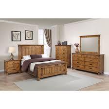 coaster brenner panel bedroom set in rustic honey