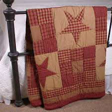 ninepatch star quilted throw primitive home decors