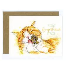 meowy christmas card ginger cat greeting card cat christmas