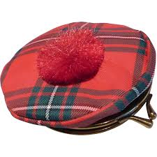vintage scottish tartan tam hat coin change purse from historique