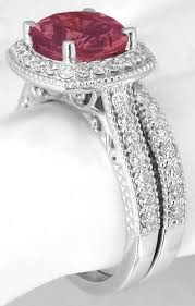 Birthstone Wedding Rings by Pink Tourmaline Engagement Rings With Matching Wedding Band Gr 9189