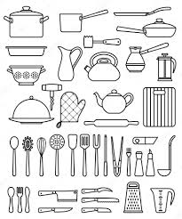 kitchen tools and equipment set of silhouette kitchen utensils and collection of cookware