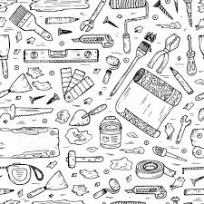 doodle house repair tools home improvement seamless pattern
