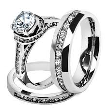 wedding rings sets his and hers for cheap st1919 arh1570 his hers stainless steel 3 cz wedding ring