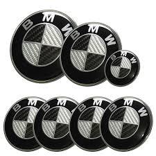 logo bmw afauto 7pcs bmw black silver carbon fiber style emblem logo badge